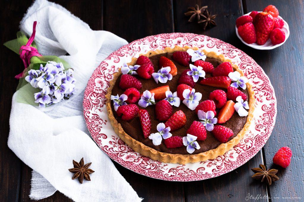crostata cioccolato e lamponi di Ottolenghi