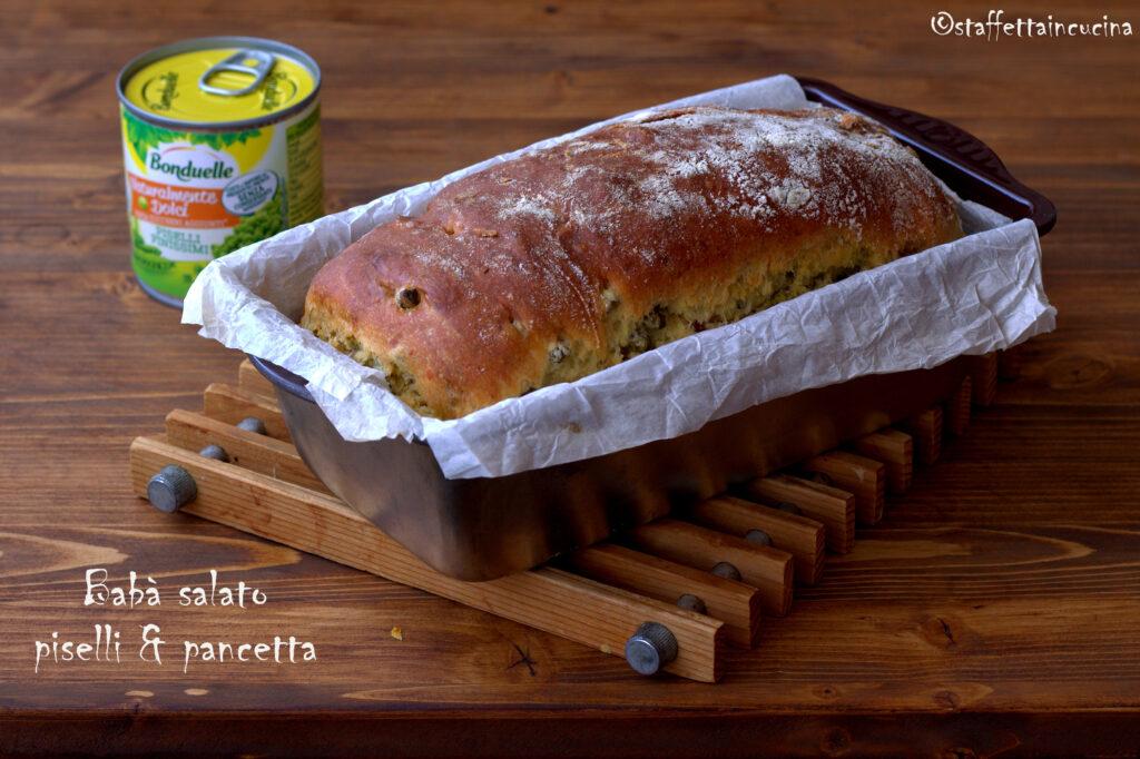 babà salato con piselli e pancetta